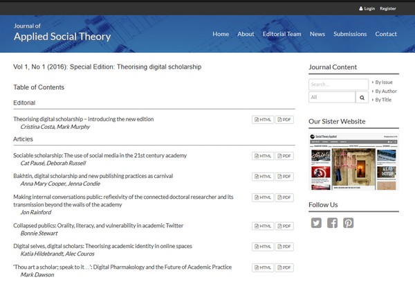 Social Theory Applied website screenshot